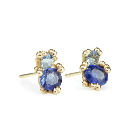 Blue Sapphire and Aquamarine Stud Earrings