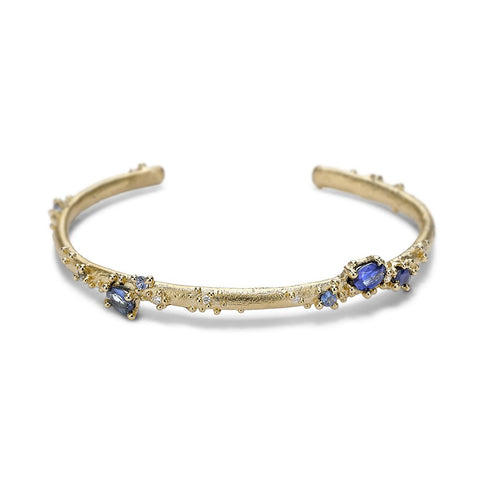 Blue Sapphire and Diamond Granulated Cuff