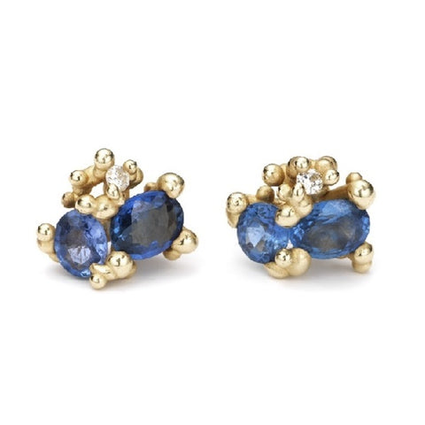 Gold and Blue Sapphire Post Earrings with Diamonds