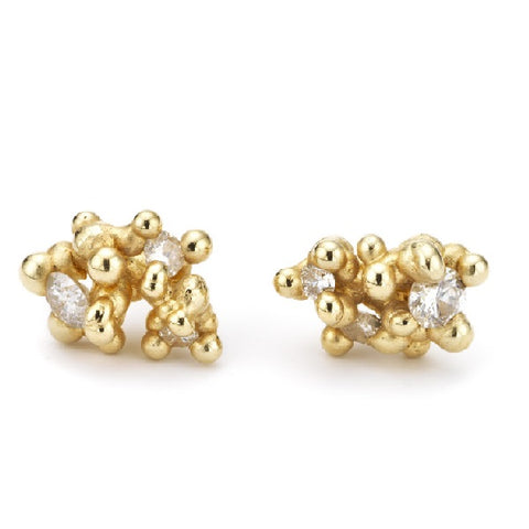 Gold and Diamond Cluster Post Earrings