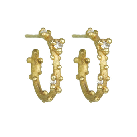 Gold and Diamond Small Hoop Earrings with Granulation