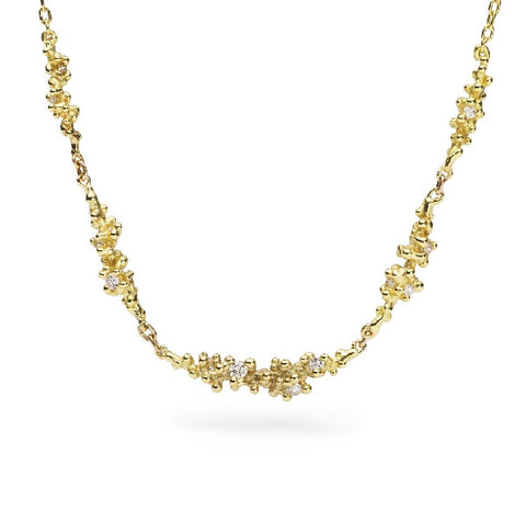 18K Yellow Gold Diamond Cluster Necklace