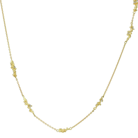 Gold Granulated Diamond Cluster Station Necklace