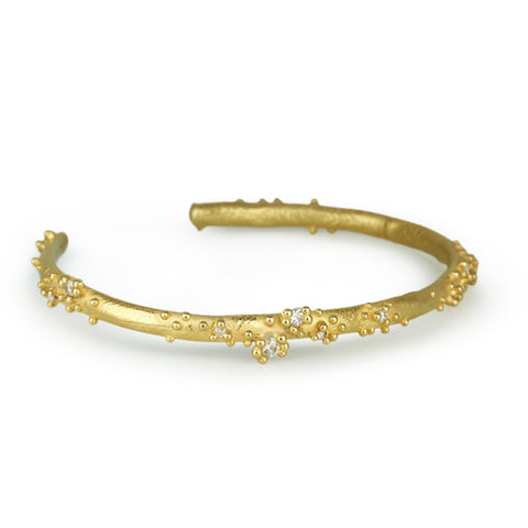 Gold and Diamond Cuff Bracelet with Granulation
