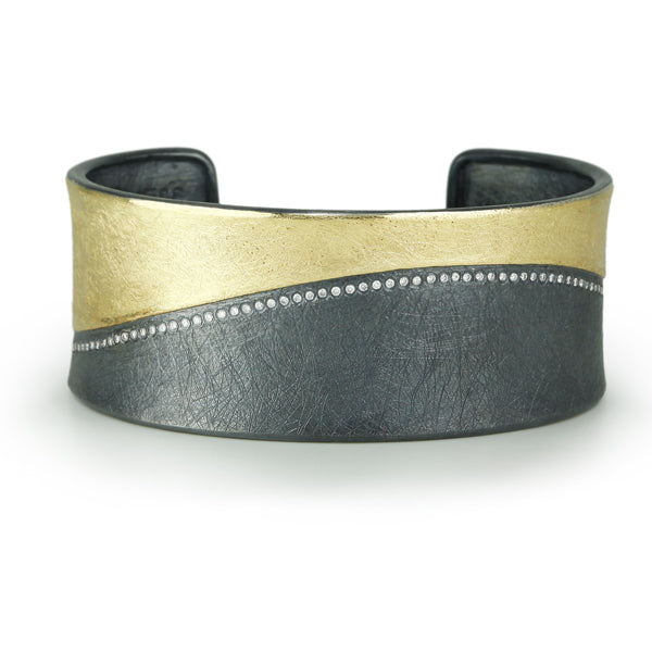 Mixed Metal Wide Cuff Bracelet with Diamonds