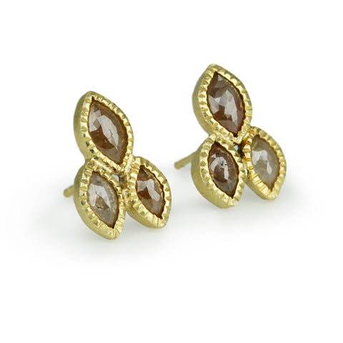 Gold and Natural Colored Diamond Earrings