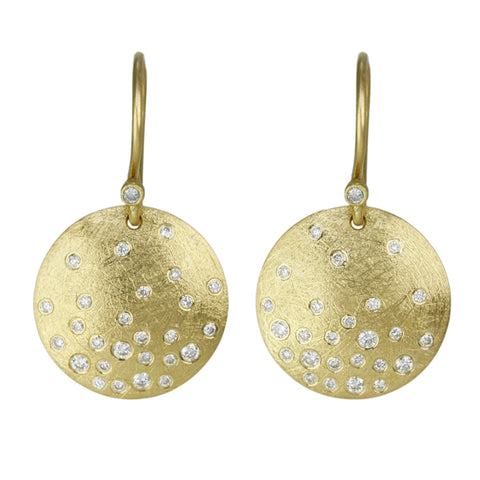 Gold and Diamond Disc Earrings