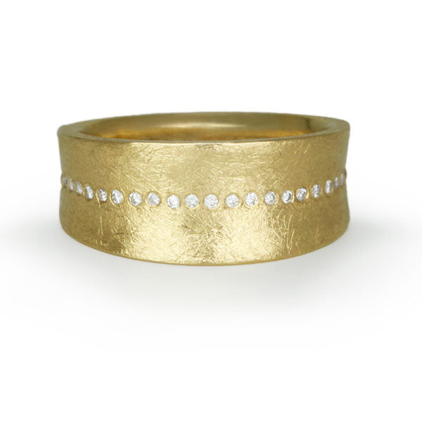 Gold and Diamond Tapered Wide Band Ring