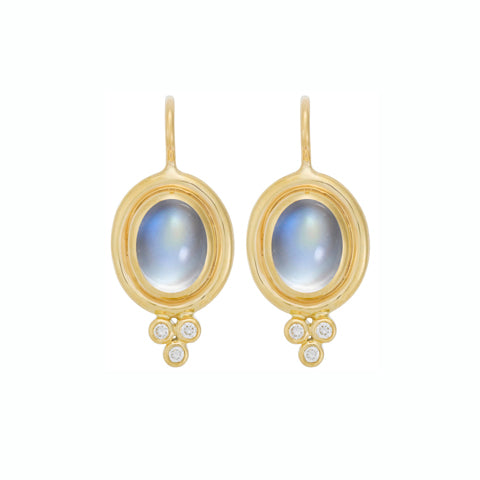 18K Gold Classic Oval Moonstone Earrings with Diamonds