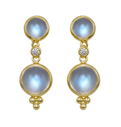 Gold and Blue Moonstone Double Drop Earrings with Diamonds