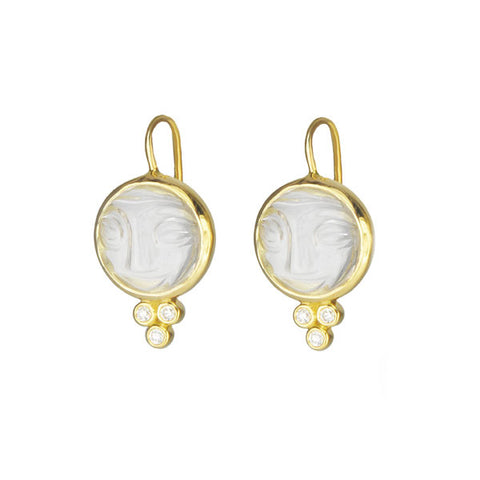 "Gold and Quartz ""Moonface"" Earrings with Diamonds"