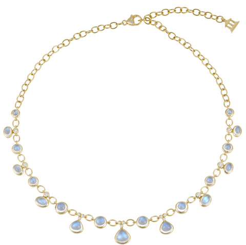 "Gold and Blue Moonstone ""Bib"" Fringe Necklace with Diamonds"