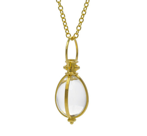 Gold and Rock Crystal Egg Amulet Pendant