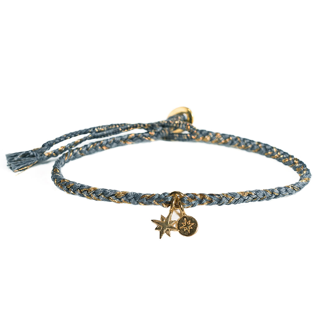 Teal Cord Bracelet with Compass and Starburst Charms