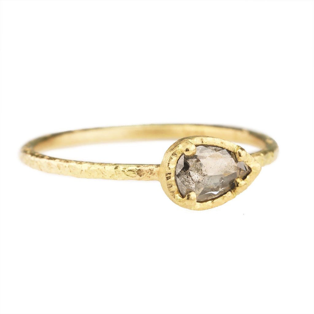 Gold Prong-Set East-West Teardrop Grey Diamond Ring
