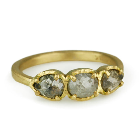 Gold Three Grey Diamond Ring