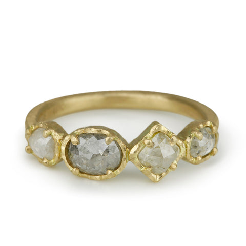 Gold Four Grey Diamond Ring