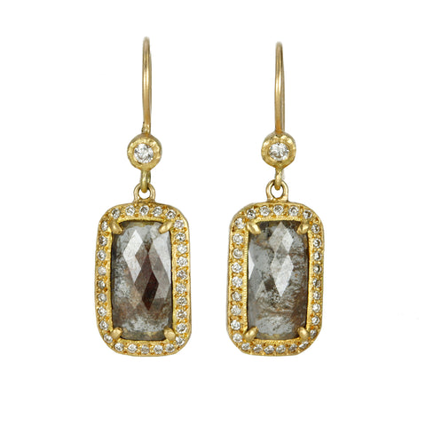 Rectangular Brown-Grey Diamond Earrings with Diamond Halo