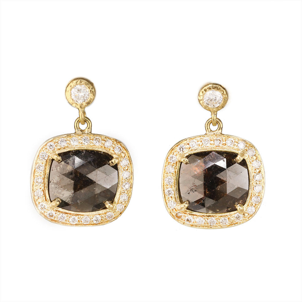 Gold and Brown Diamond Cushion Shaped Drop Earring