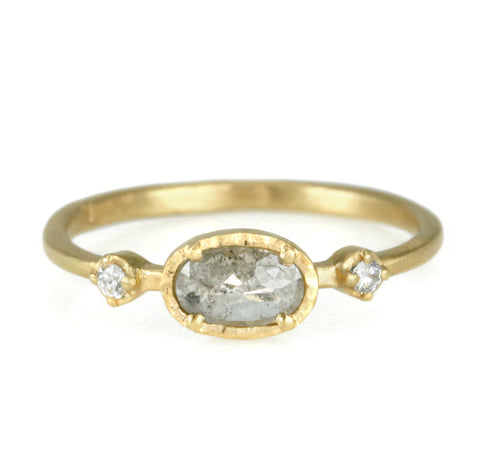 Gold Dark Grey Oval Diamond Ring