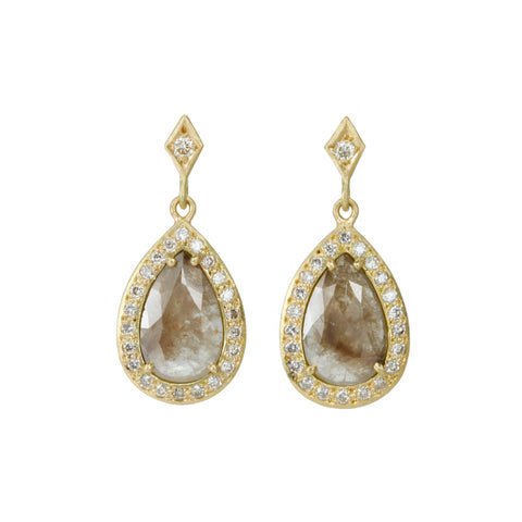 Gold Teardrop Brown Diamond Earrings