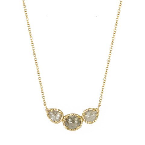 Gold and Triple Grey Diamond Necklace