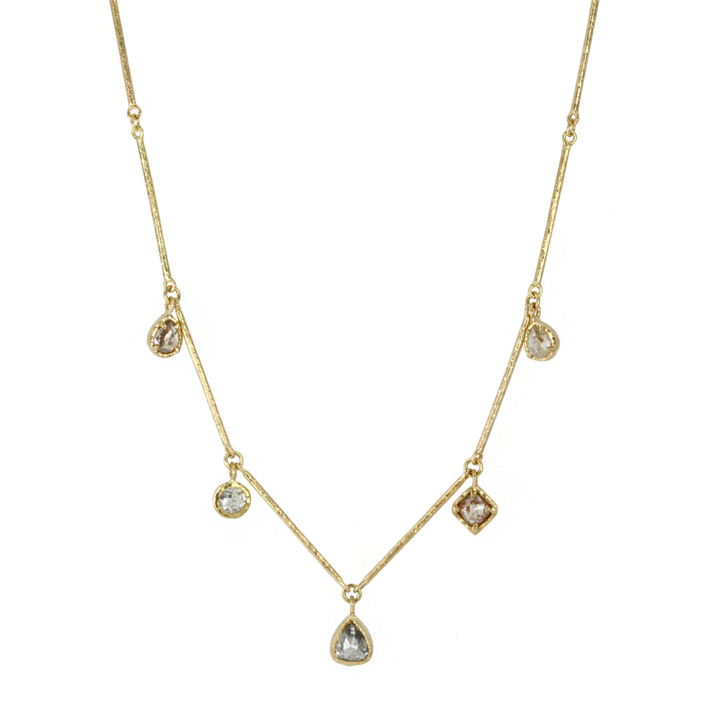 "Gold ""Bar"" Necklace with Natural Round, Teardrop and Diamond Shaped Drops"
