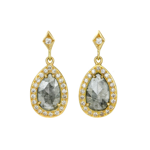 Dark Grey Teardrop Diamond Earrings