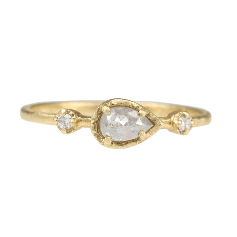 Yasuko Azuma Gold and Sideways Pear-Shaped Grey Diamond Ring
