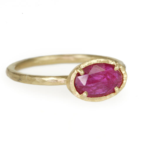 Gold and Oval Ruby Ring