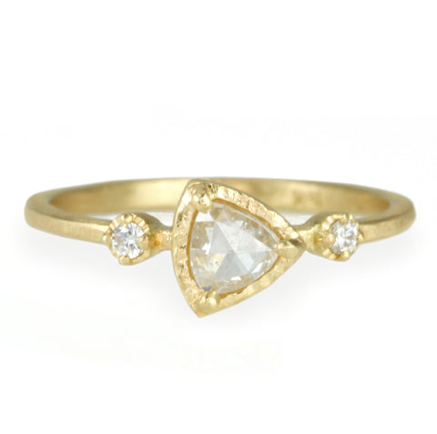 Gold Grey Trillion Diamond Ring