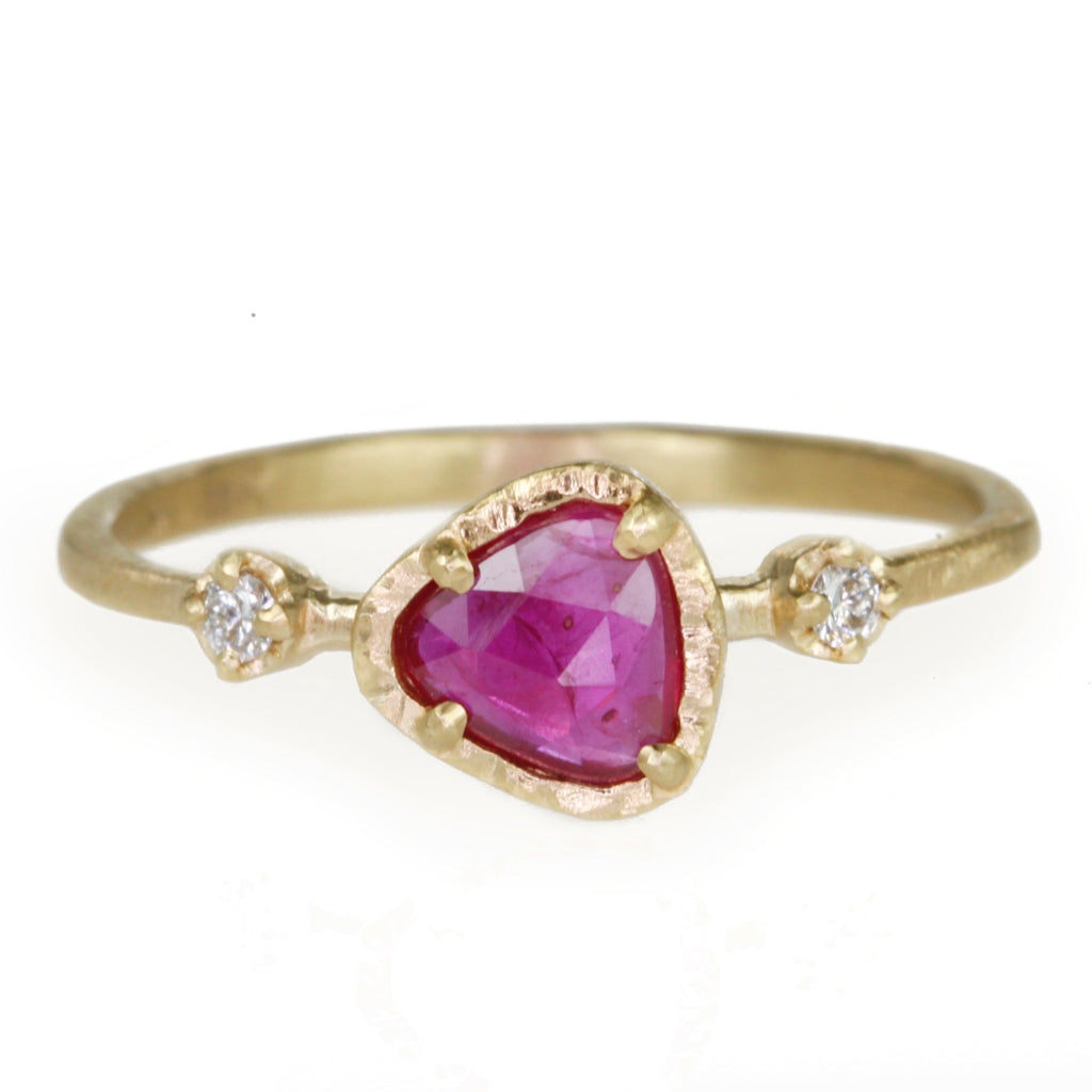 Gold and Asymmetrical Ruby Ring with Diamonds