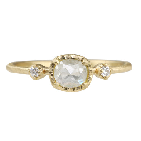 Yasuko Azuma Gold and Cushion Cut Icy Grey Diamond Ring