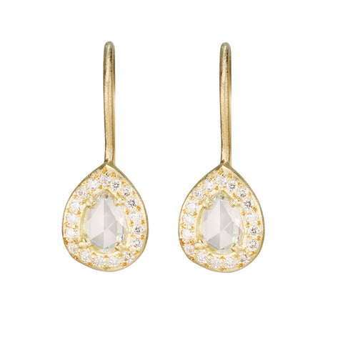 Gold and Diamond Teardrop Earrings with Diamond Halo