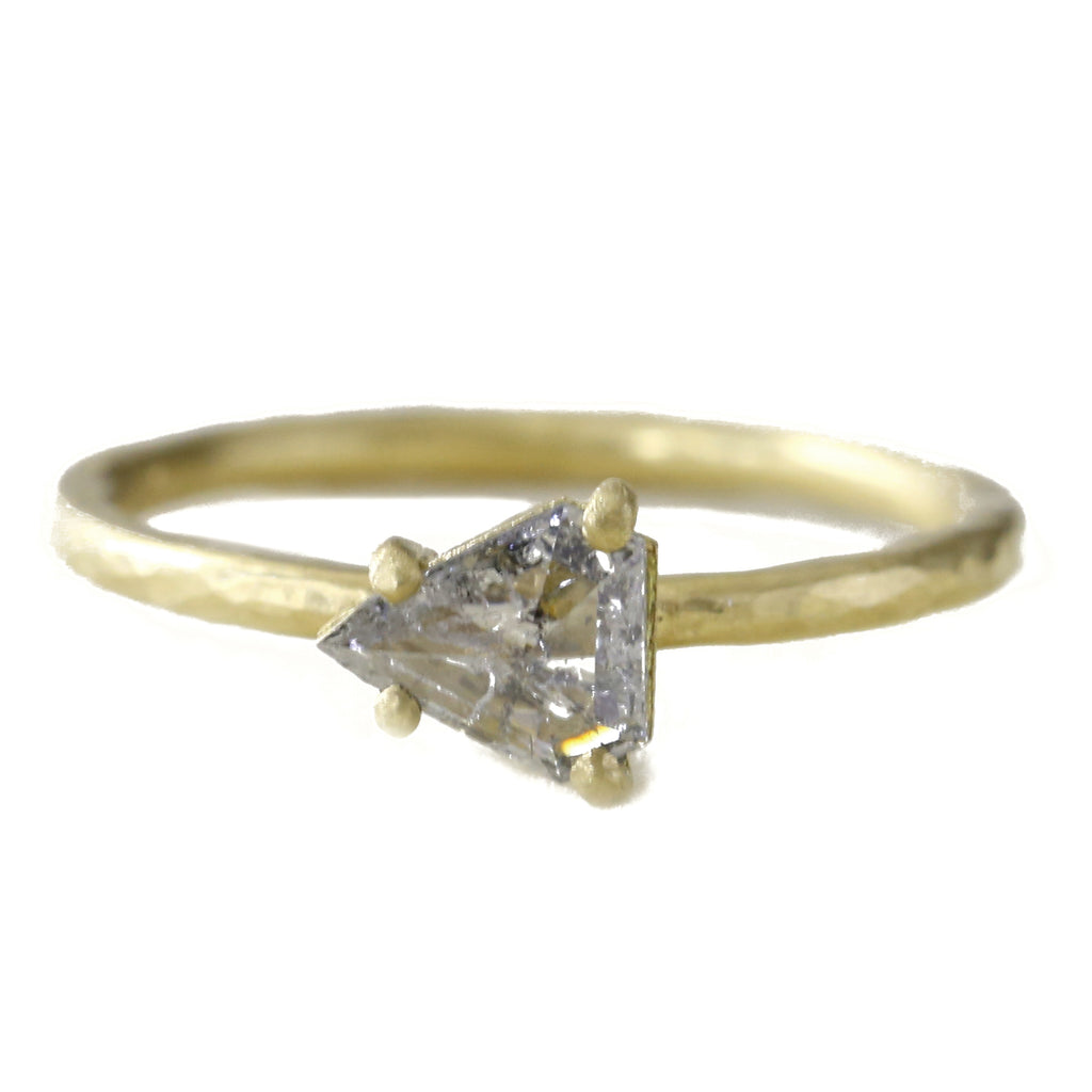Gold and Trillion Grey Diamond Ring