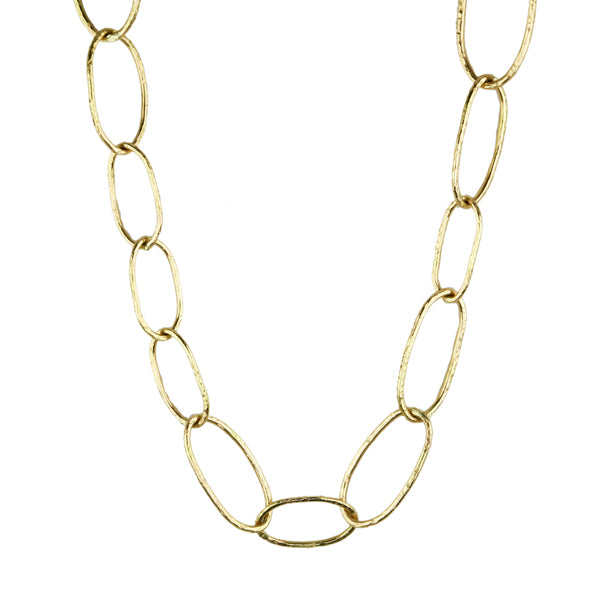 "Long Gold ""Bubble"" Chain Necklace with Oval Links"