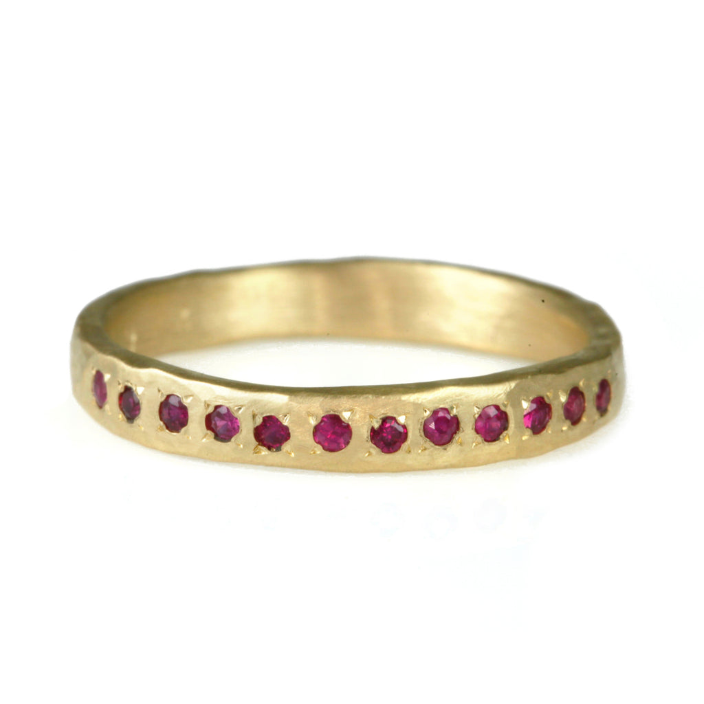 Hammered Gold Ruby Ring