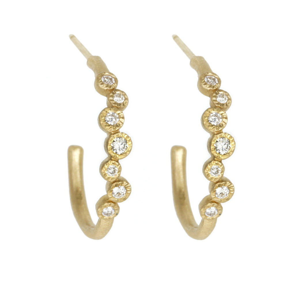 Gold and Diamond Cluster Hoop Earrings