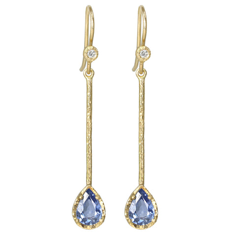 Gold Teardrop Blue Sapphire Bar Earrings