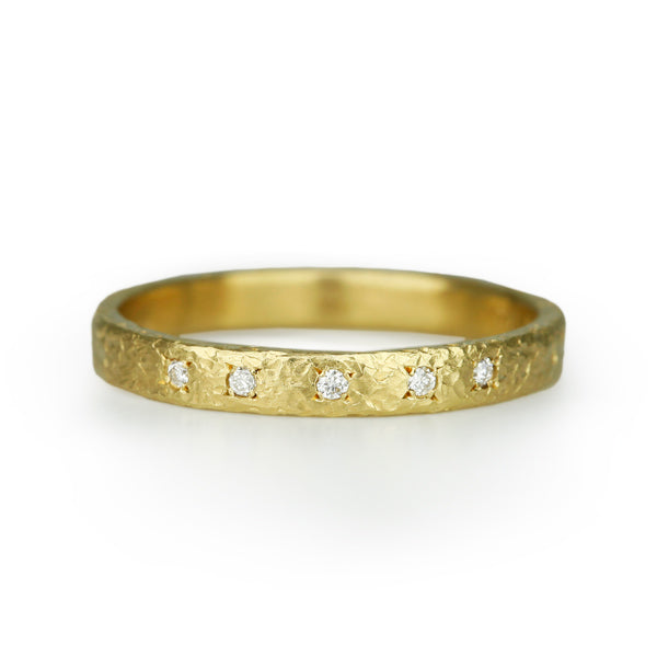 Gold and Diamond Textured Ring