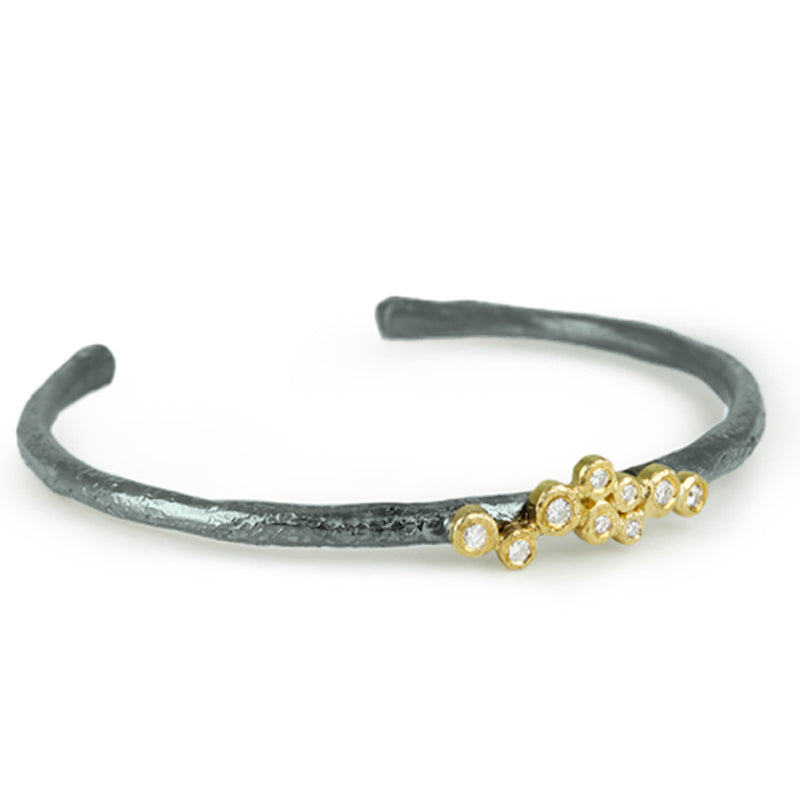 Mixed Metal Diamond Cuff Bracelet