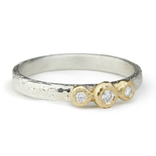 Sterling Silver and Three Diamond Textured Ring