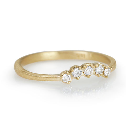 Gold and Curved Prong-Set Diamond Row Band