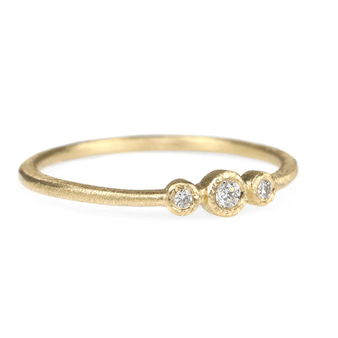 Gold Triple Bezel-Set Diamond Ring