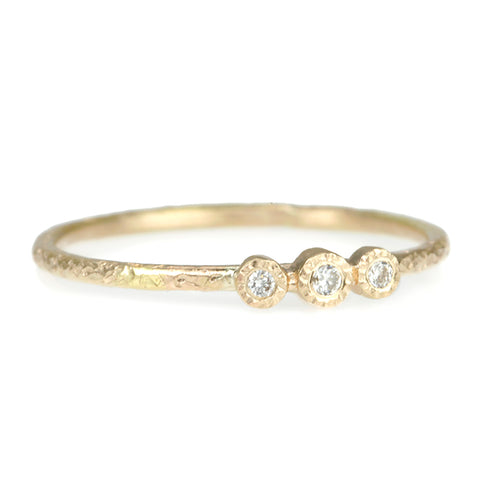 Gold Thin Hammered Ring with Three Bezel-Set Diamonds