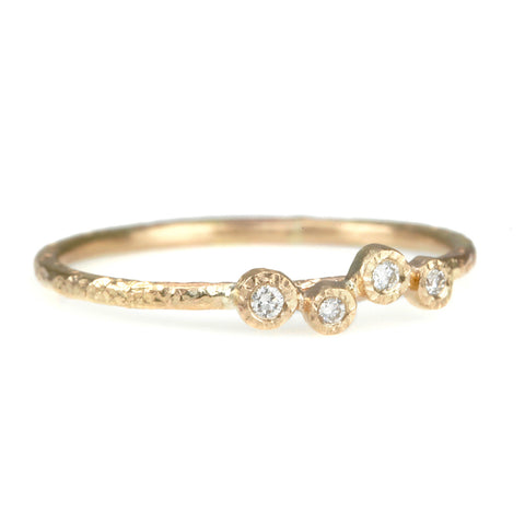 Gold Thin Hammered Ring with Four Bezel-Set Diamonds