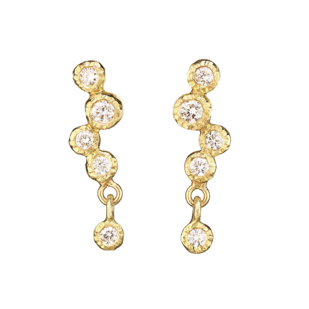 Bezel-Set Diamond Studs with Single Dangling Diamond