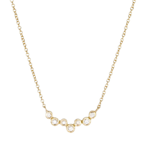 Yasuko Azuma Gold and 7 Bezel-Set Diamond Necklace