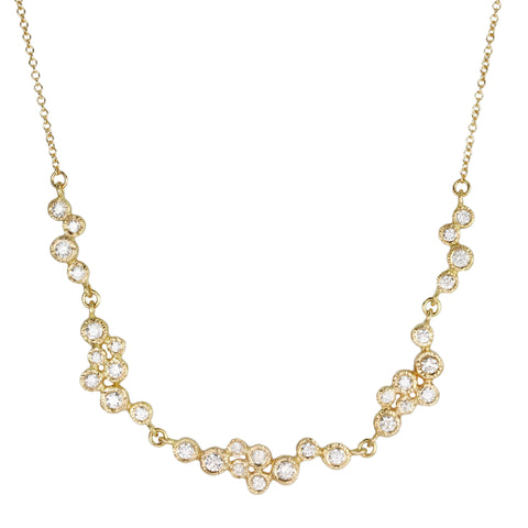 Gold and Bezel-Set Diamond Clusters Necklace