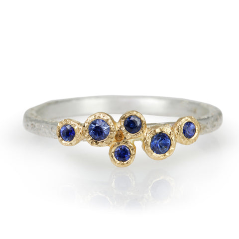 Sterling Silver and Blue Sapphire Textured Band
